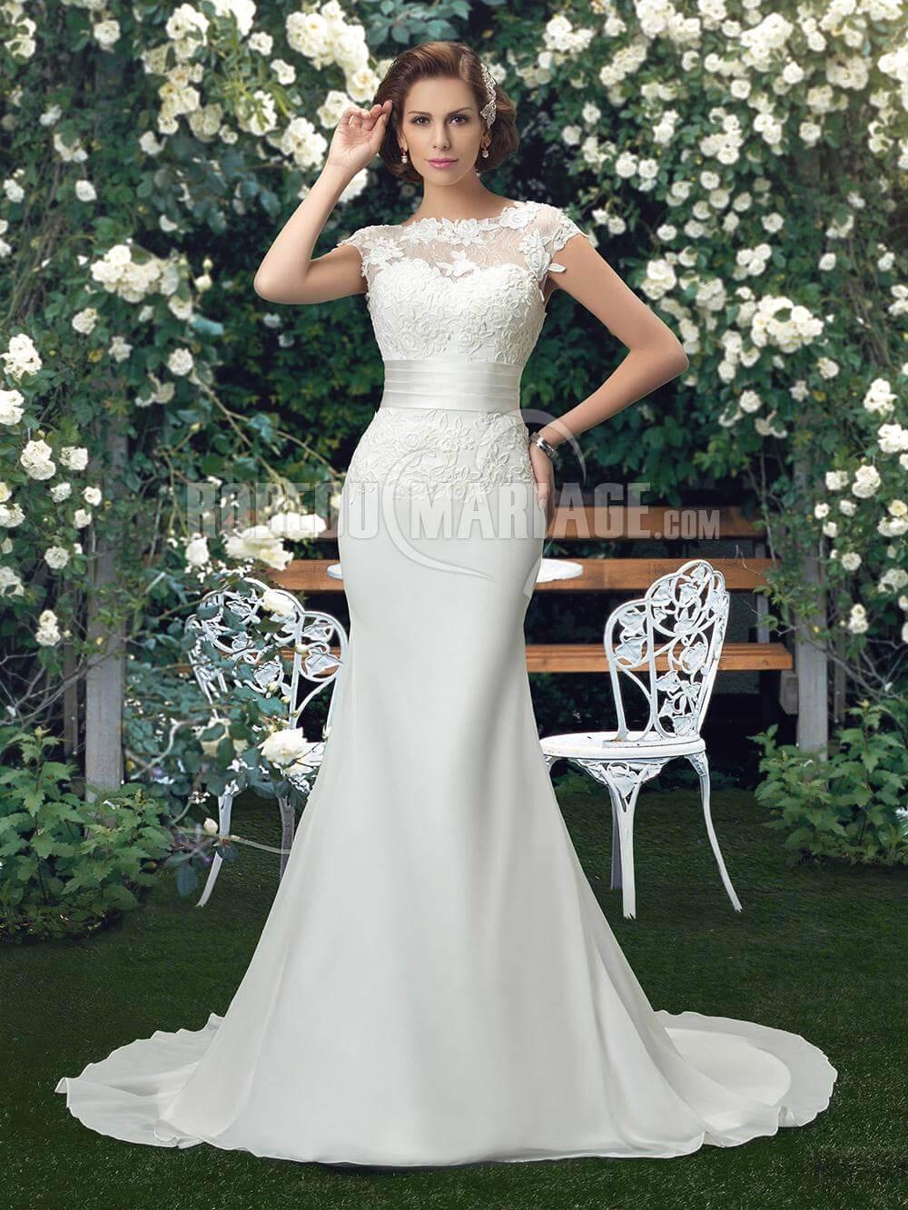 Sirène robe de mariée en satin dentelle pas cher sans manches #ROBE2012660 | Robedumariage.com