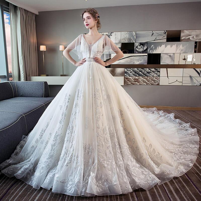 robe de mariage princesse col en v avec tra ne luxe pas cher robe2014141